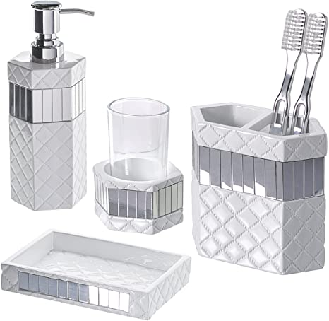 Amazon Com Creative Scents Quilted Mirror Bathroom Accessories Set 4 Piece Includes Soap Dispenser Toothbrush Holder Tumbler Soap Dish Gift Package Finished In White And Silver Mirrored Accents Home Kitchen