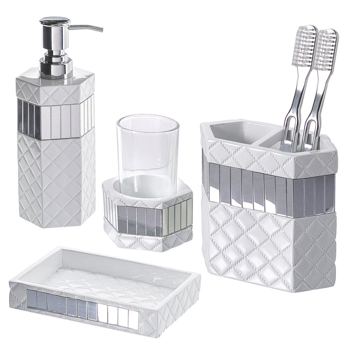 4 piece quilted mirror bathroom accessories set with soap for Silver bathroom set