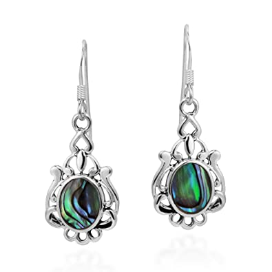 0bd0c24f3 Image Unavailable. Image not available for. Color: Vintage Style Oval  Abalone Shell .925 Sterling Silver Earrings