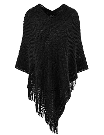 73c5e712f808c Ferand Women s Elegant Cozy Poncho Sweater with Chevron Stripes and  Fringes