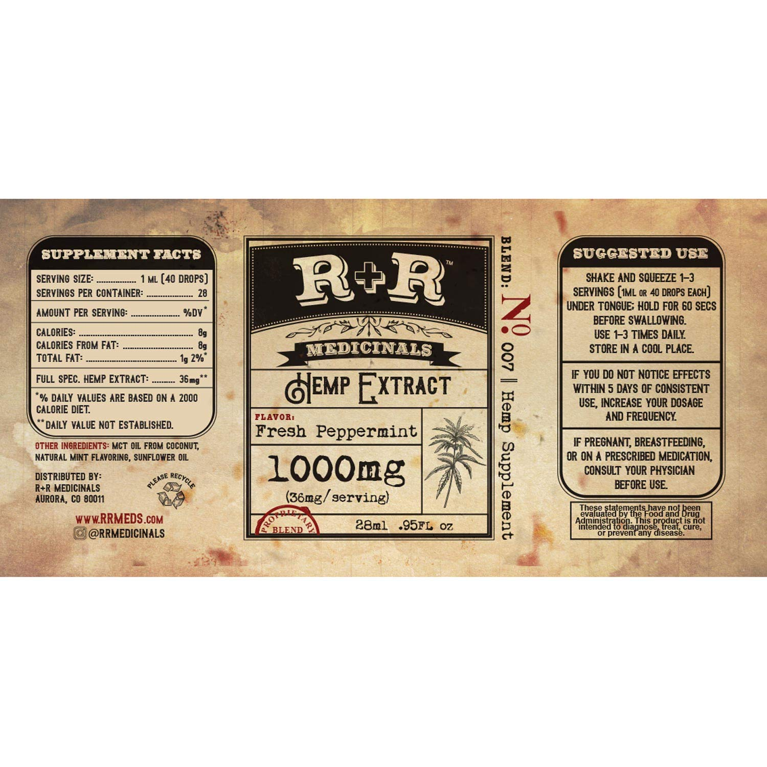 Hemp Oil 1000mg :: Hemp Oil for Pain :: Stress Relief, Mood Support, Healthy Sleep Patterns, Skin Care (1000mg, 36mg per Serving x 28 Servings) : R+R Medicinals by R+R Medicinals (Image #3)