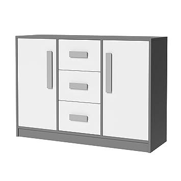 Smartbett Kommode Git Mit 2 Türen Und 3 Schubladen Sideboard Grau