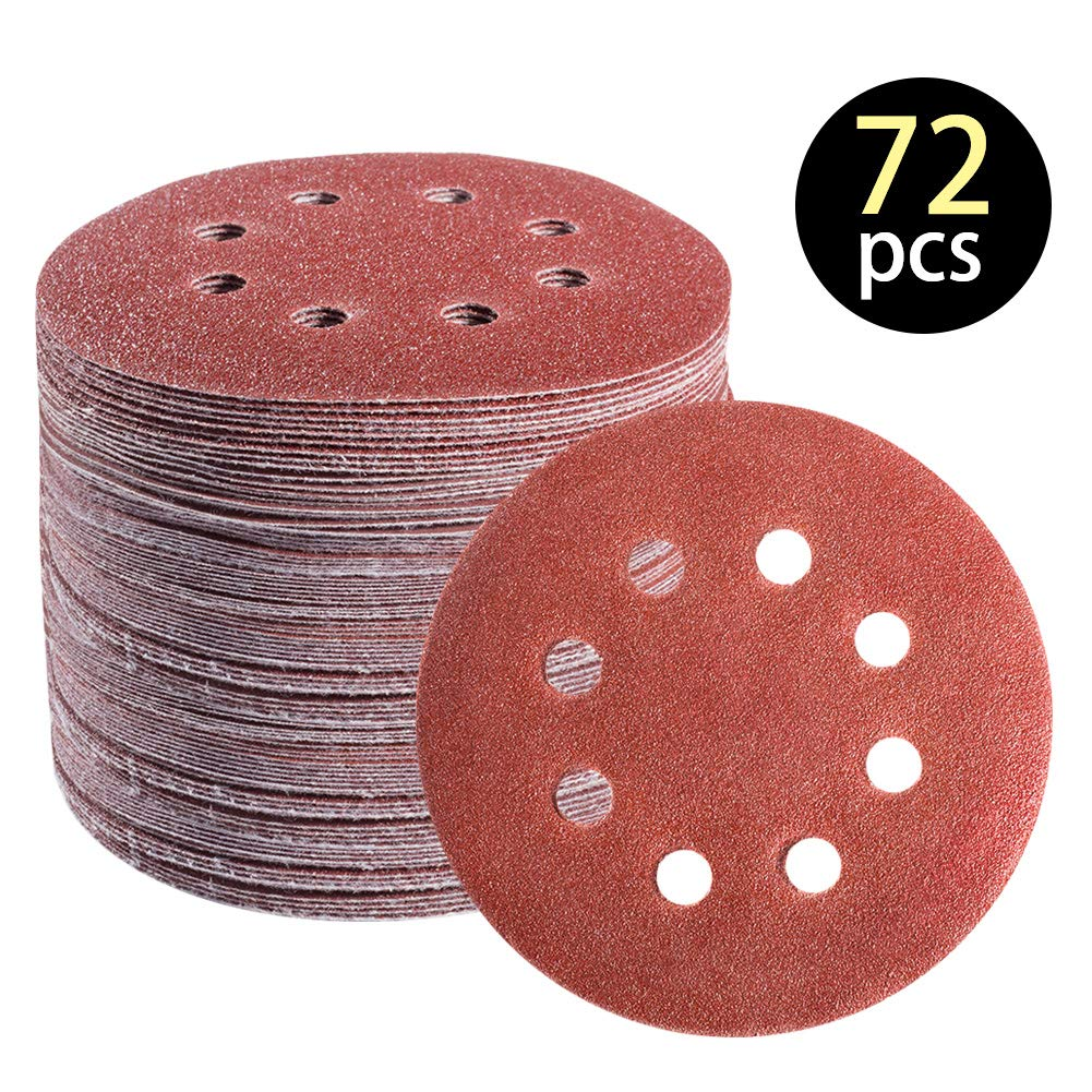 72 PCS 5 Inch 8 Hole Hook and Loop Adhesive Sanding Discs Sandpaper for Random Orbital Sander 40 60 80 120 180 240 320 Grits 71VjiYgyIGL