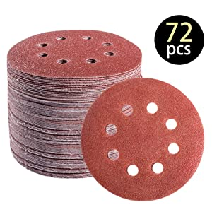 72 PCS 5 Inch 8 Hole Hook and Loop Adhesive Sanding Discs Sandpaper for Random Orbital Sander 40 60 80 120 180 240 320 Grits