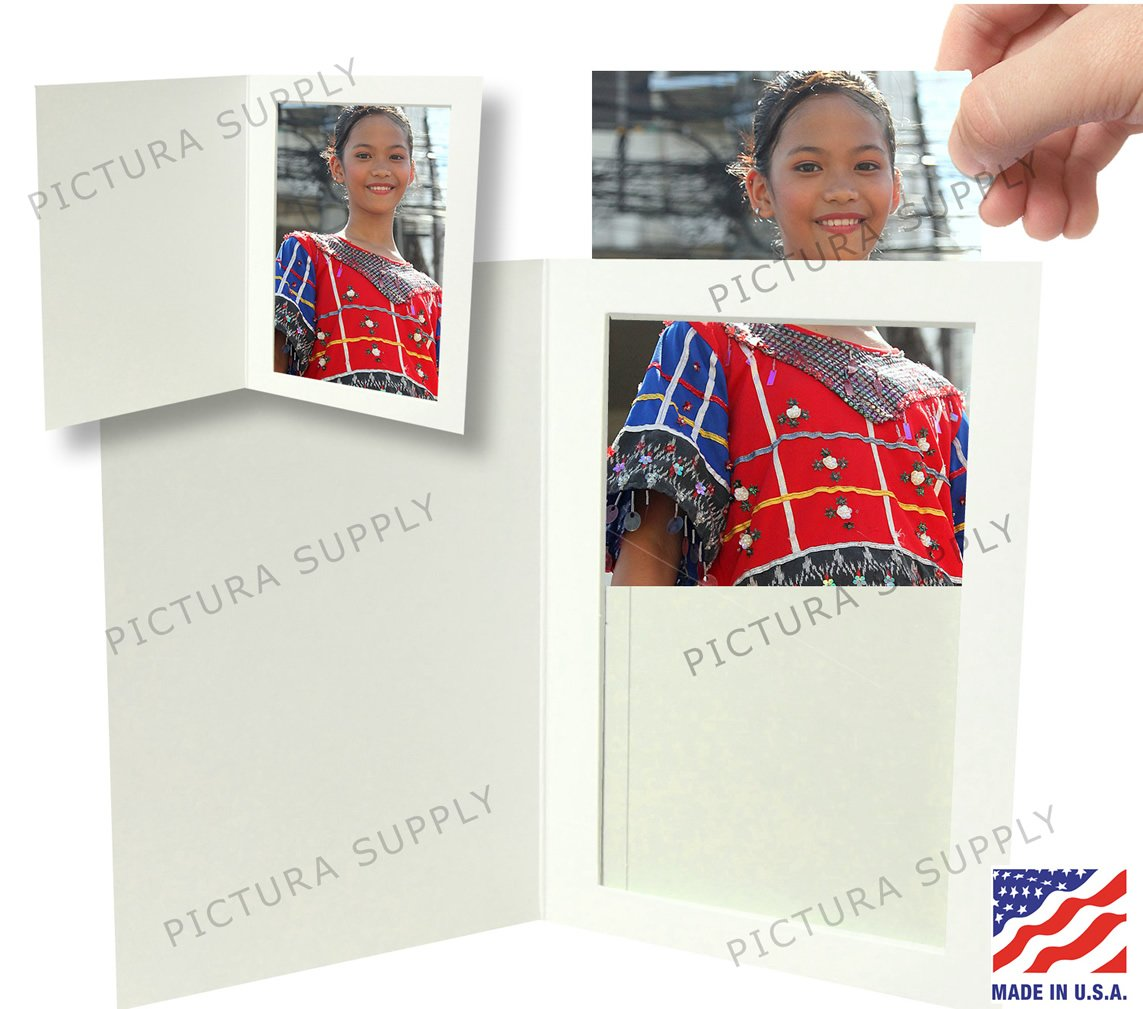 White Cardboard Photo Folder - for 4x6 photos - Pack of 100 by Pictura Supply, Inc