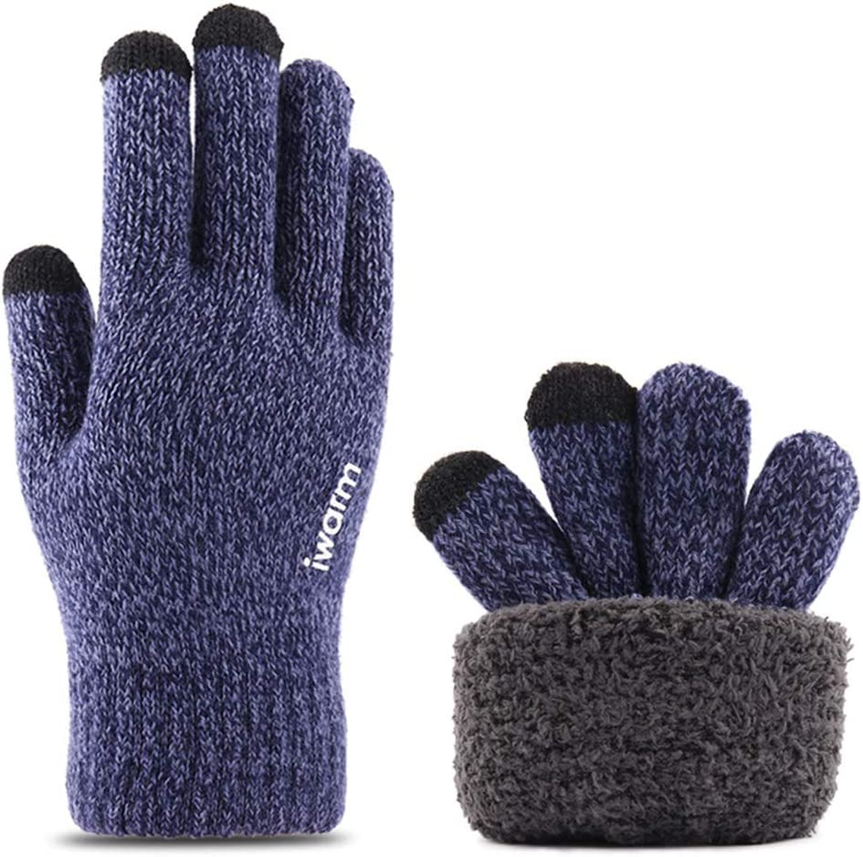 LOHONER Men Women Winter Knit Ski Gloves Touchscreen Double Layer Thermal Lining Texting Elastic Cuff Non-Slip Silicone Balm Mittens