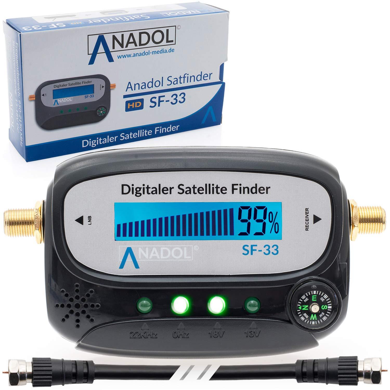 c/âble de Connexion Son Manuel dutilisation en Allemand et connecteurs F plaqu/és Or pour Ajuster lantenne Anadol SF33 D/étecteur de Satellite LCD avec Boussole
