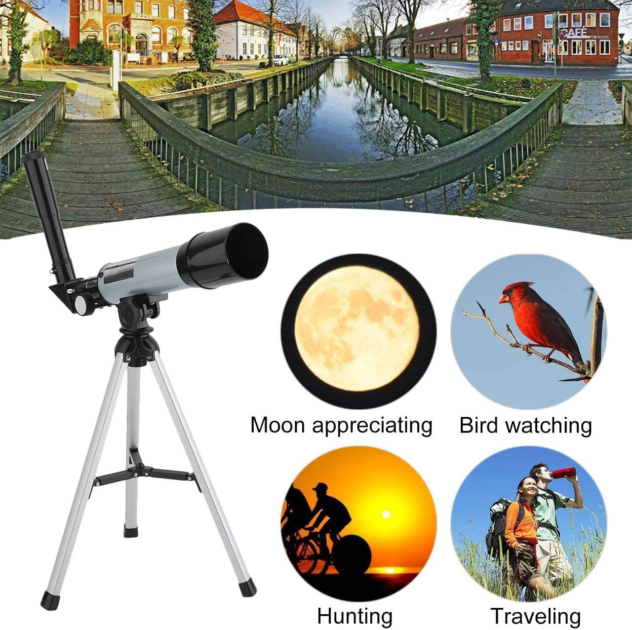 NeanTak Outdoor Portable Adjustable Refractor Spotting Scope Astronomical Telescope Monocular with Tripod for Beginners