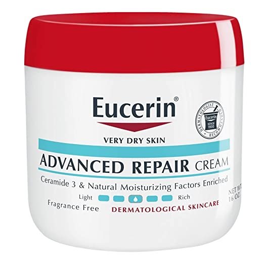 About the product Eucerin Advanced Repair Cream is a breakthrough in repairing very dry skin and provides 48 hour moisture, for skin that looks and feels healthy Ceramide 3 and Natural Moisturizing Factors Enriched Repairs very dry skin Fragrance and dye free Non-greasy, fast absorbing Dermatologist Recommended Brand