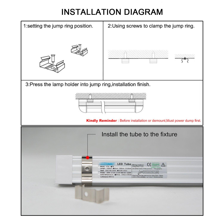 T8 Led Integrated V Shaped Tube Lamp Hirosa 4ft 36w Shatterproof Wiring Diagram 6500k Crystal White Glow 4000 Lumens Workshop Warehouse Garage