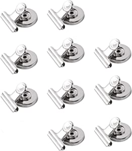 10pcs Magnetic Clips Strong Fridge Magnet Hook Clip for Home Office School Freezer Kitchen Refrigerator, Silver