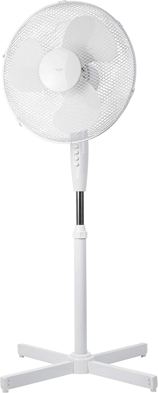 Ventilador de pie NHC de 40 cm o 41 cm. Ventilador de Altura Regulable hasta 122 cm. Muy silencioso. Alto Flujo de Aire. 3 Niveles de Velocidad Diferentes. Función de oscilación Aprox. 90° - Blanco