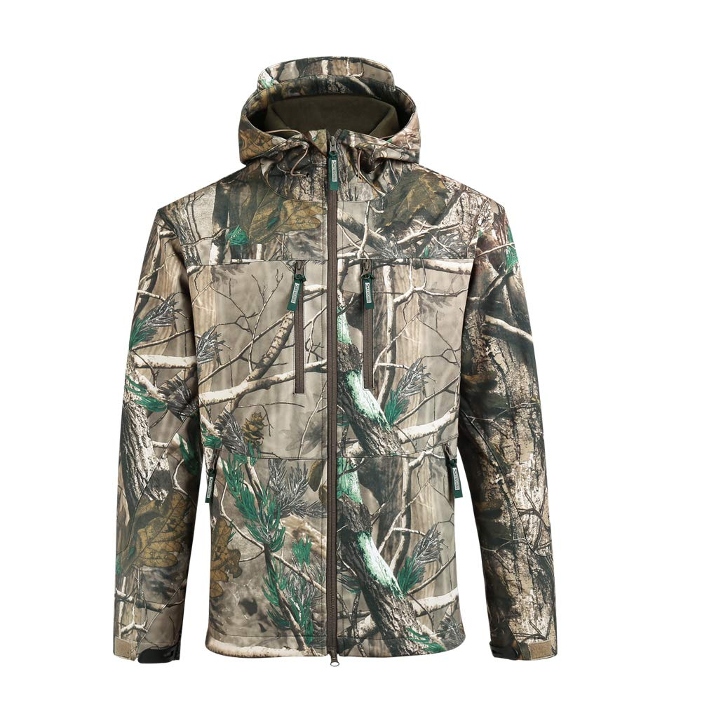 SAENSHING Men Sport Hunting Jackets Waterproof Breathable Fleece Coats Warm Camouflage Outdoor Tactical Jacket(XL)