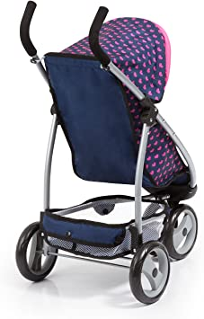 Bayer Design 39954AA, Sillita de Paseo, Cochecito De Muñecas, con Ruedas gemelas Delanteras, Azul, Rosa, Color