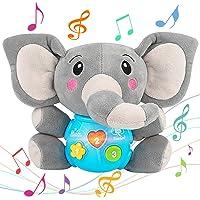 Aitbay Plush Elephant Music Baby Toys 0 3 6 9 12 Months, Cute Stuffed Aminal Light Up Baby Toys Newborn Baby Musical…