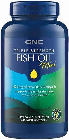 GNC Triple Strength Fish Oil Mini, 240 Softgels, for Joint, Skin, Eye and Heart Health