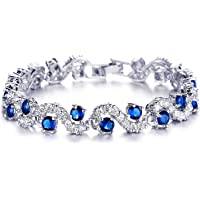 Shining Diva Fashion Royal Blue Crystal CZ Silver Plated Bracelet Gift for Girls Women(9576b)
