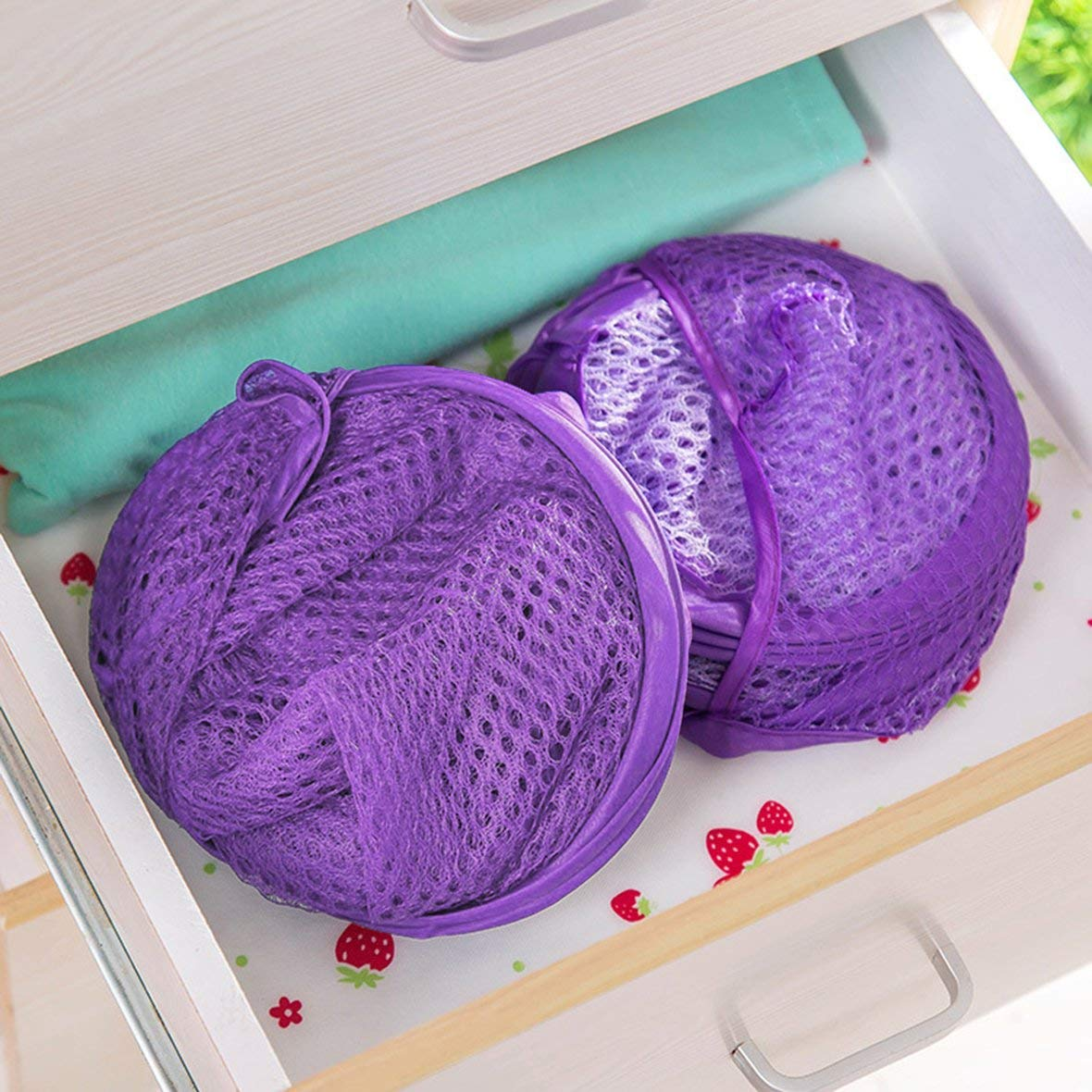 Tivolii Foldable Practical Pop Up Washing Clothes Laundry Basket Solid Color Mesh Dirty Clothes Storage Basket Bag for Home