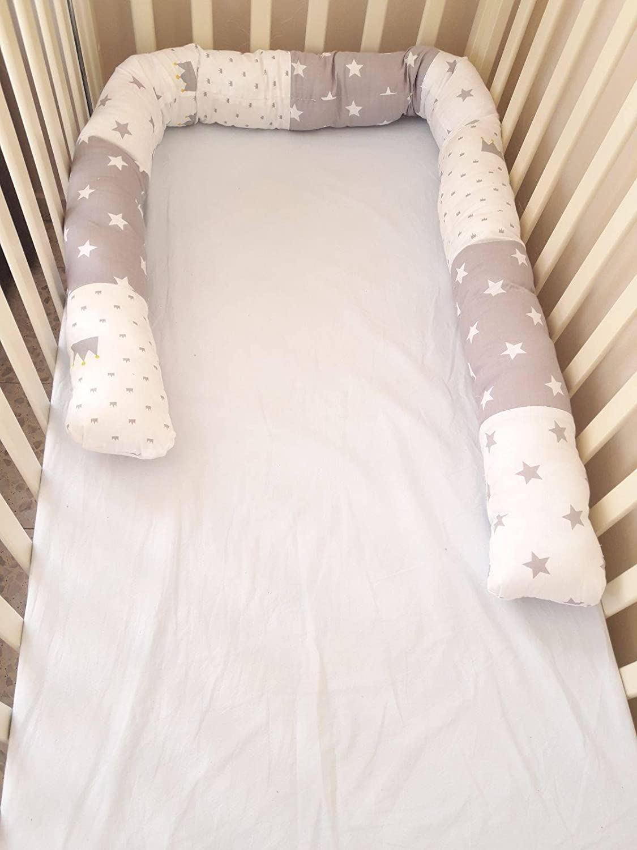 baby crib bumper snake pillow baby shower gift idea Grey stars developmental soft toy long pillow cute bed bumper baby cot bumper
