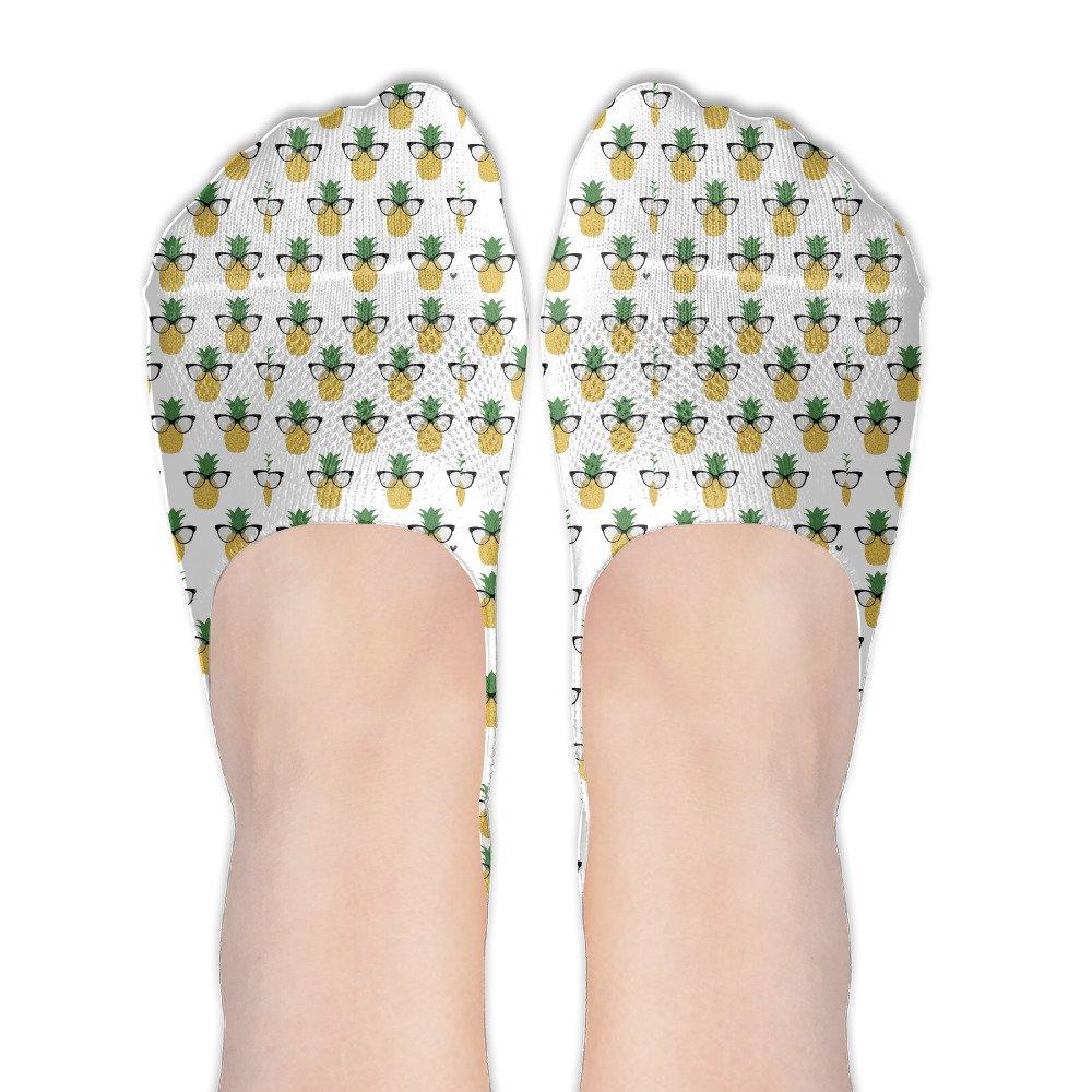 Sunglass Pineapple Women's Thin Casual No Show Socks Non Slip Flat Boat Line