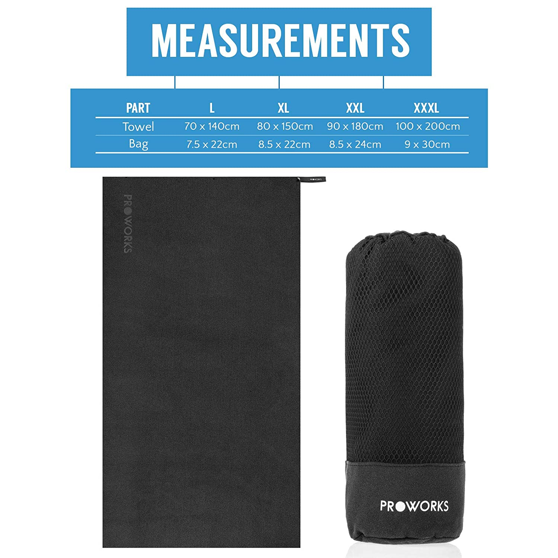 leicht /& Quick Dry Sport Strand Handtuch mit Compact Travel Bag Proworks Mikrofaser Handtuch Bad