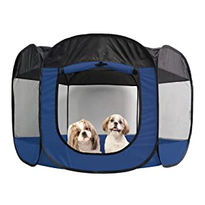 Furhaven Pet Playpen - Indoor-Outdoor Mesh Open-Air Playpen and Exercise Pen Tent House Playground for Dogs and Cats, Sailor Blue, Extra Large