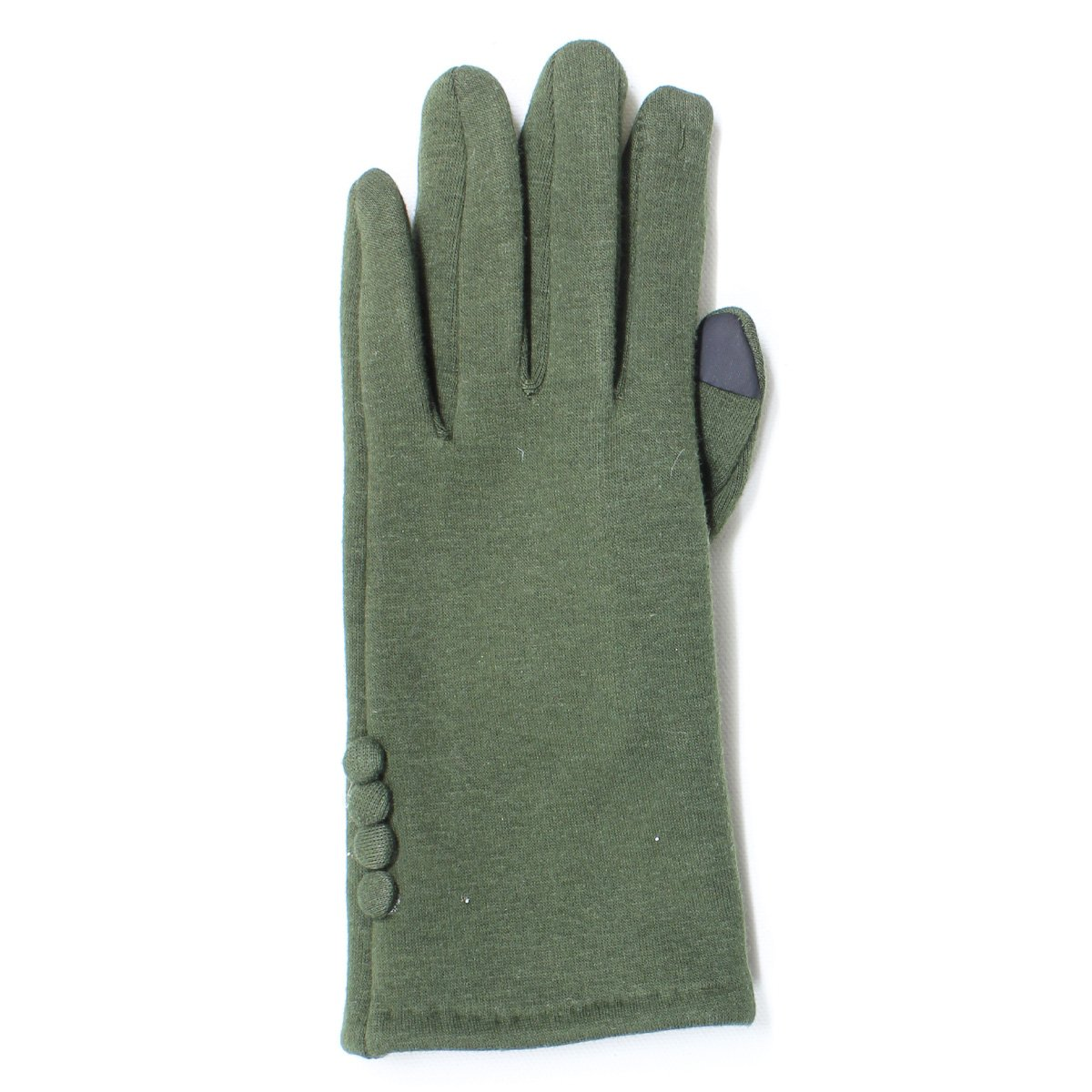 LL Womens Warm Touch Screen Gloves for Smartphone Texting- Fleece Lined, Many Styles (Small/Medium, OliveGreenButtons)
