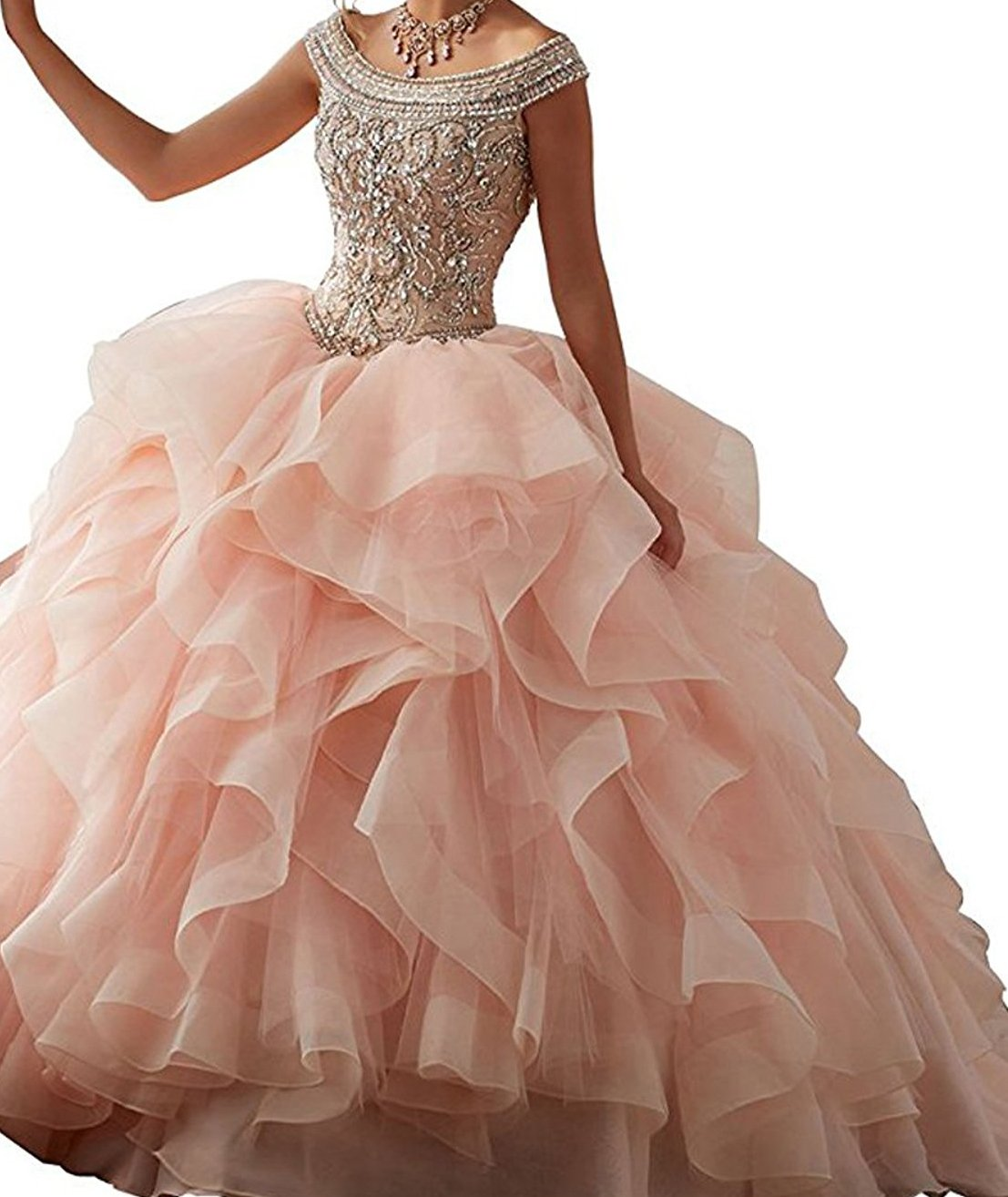 0cd487c42ae BessDress Off The Shoulder Sweet 16 Prom Dresses Beaded Ruffles Evening  Party Ball Gown BD282