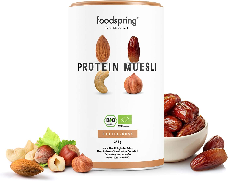foodspring Muesli Proteico, 360g, Dátiles-Frutos secos ...