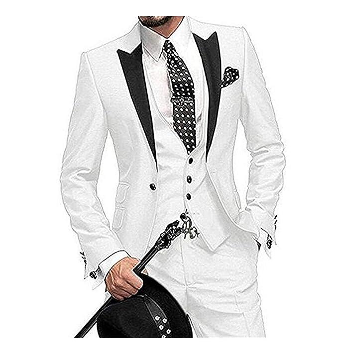 HSLS - Traje - para Hombre Blanco Blanco 42 Pecho/ 36W ...