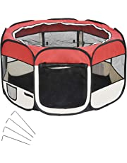 Wellhome 8-Panel Foldable Puppy Playpen Play Pen for Dogs Cats Pets Oxford 125 x 64cm Red