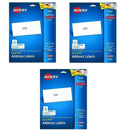 amazon com avery 8160 easy peel address labels for inkjet printers