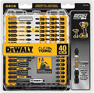 DEWALT Screwdriver Bit Set, Impact Ready, FlexTorq, 40-Piece (DWA2T40IR),Black/Silver IMPACT READY FlexTorq Screw Driving Set, 40-Piece
