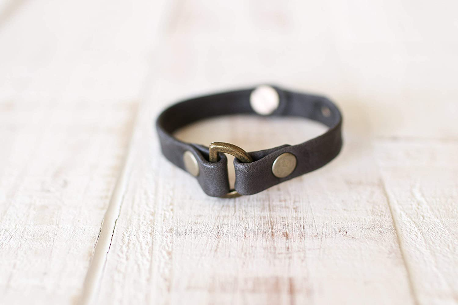 Hand Crafted Charcoal Leather Adjustable Do Good Giving Bracelet