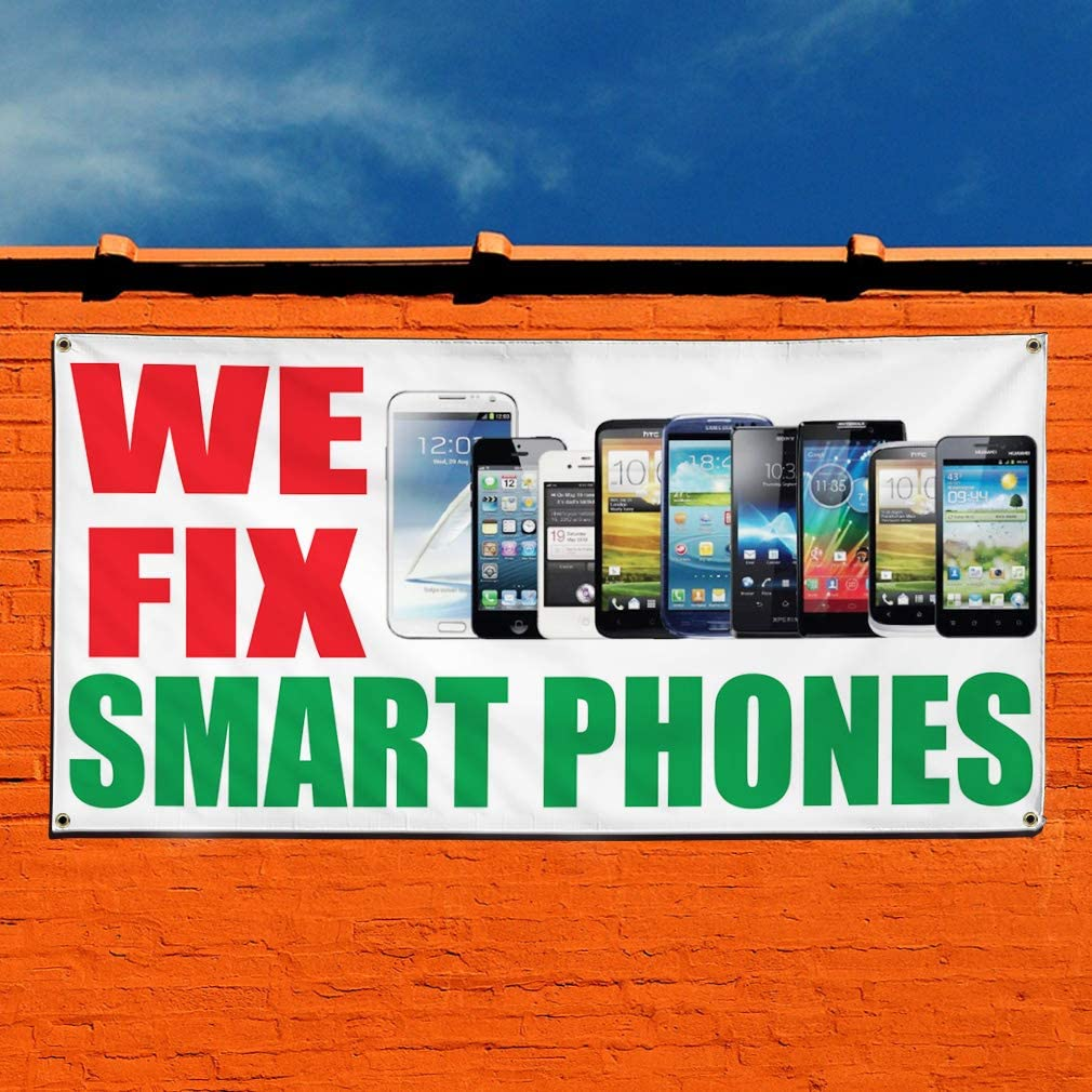 Vinyl Banner Sign We Fix Smart Phones #1 Retail Phones Marketing Advertising White Multiple Sizes Available 6 Grommets 32inx80in Set of 2