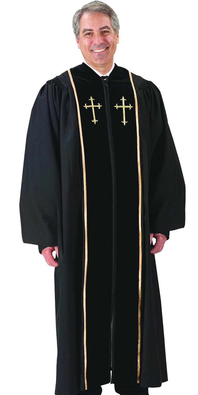 (55 Medium: 1.5m - 1.5m Height. 140cm Back Length. 80cm Sleeve Length) - Black Pulpit Robe with Beautiful Gold Embroidery (55 Medium: 1.5m - 1.5m Height. 140cm Back Length. 80cm Sleeve Length) 55 Medium: 5'8\  B00CA4UZ7W