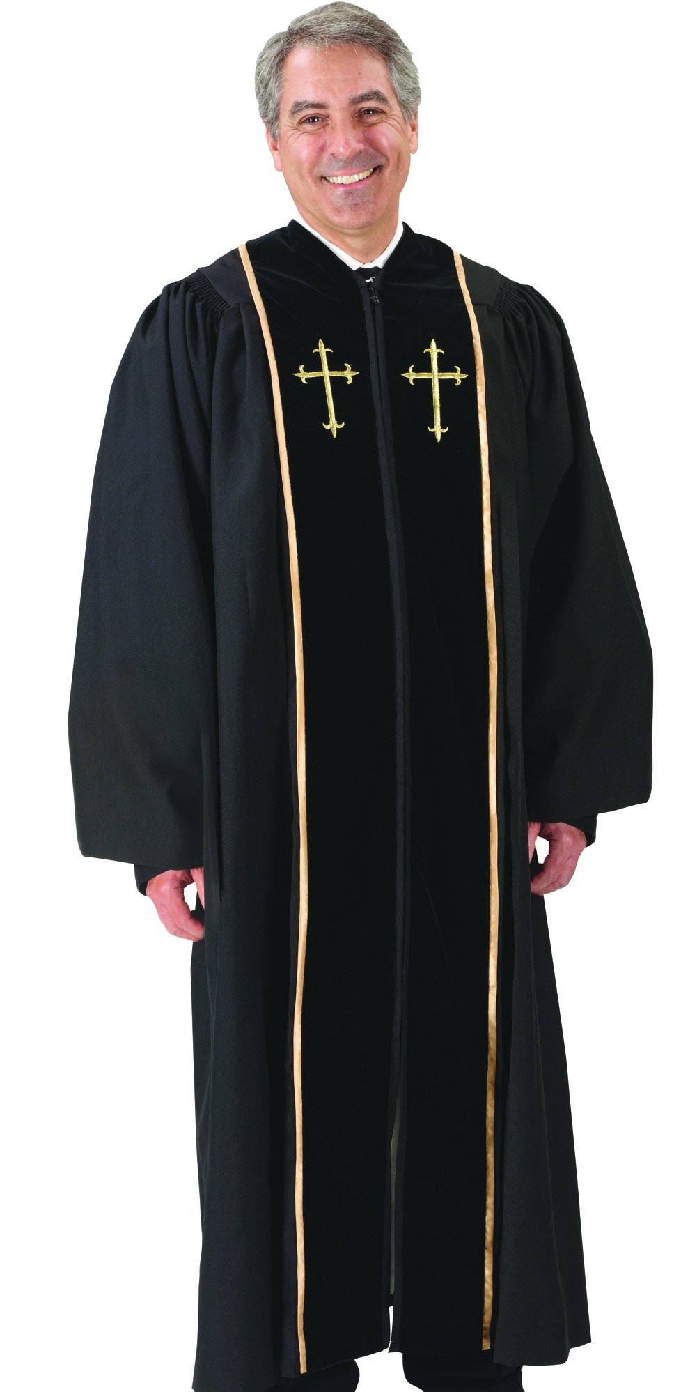 Black Pulpit Robe with Beautiful Gold Embroidery (55 Medium: 5'8'' - 5'9'' Height. 55'' Back Length. 33'' Sleeve Length)