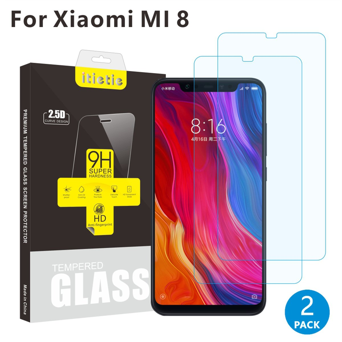 Itietie Screen Protector For Mi 8 2 Pack Ultra Thin 026mm High Xiaomi Se Camera Lens Tempered Glass Clear Definition Anti Scratch 9h Hardness Premium