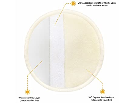 Washable Organic Nursing Pads (8 Pack) | Contoured Reusable Breast/Breastfeeding Pads with Carry Bag: Amazon.es: Bebé