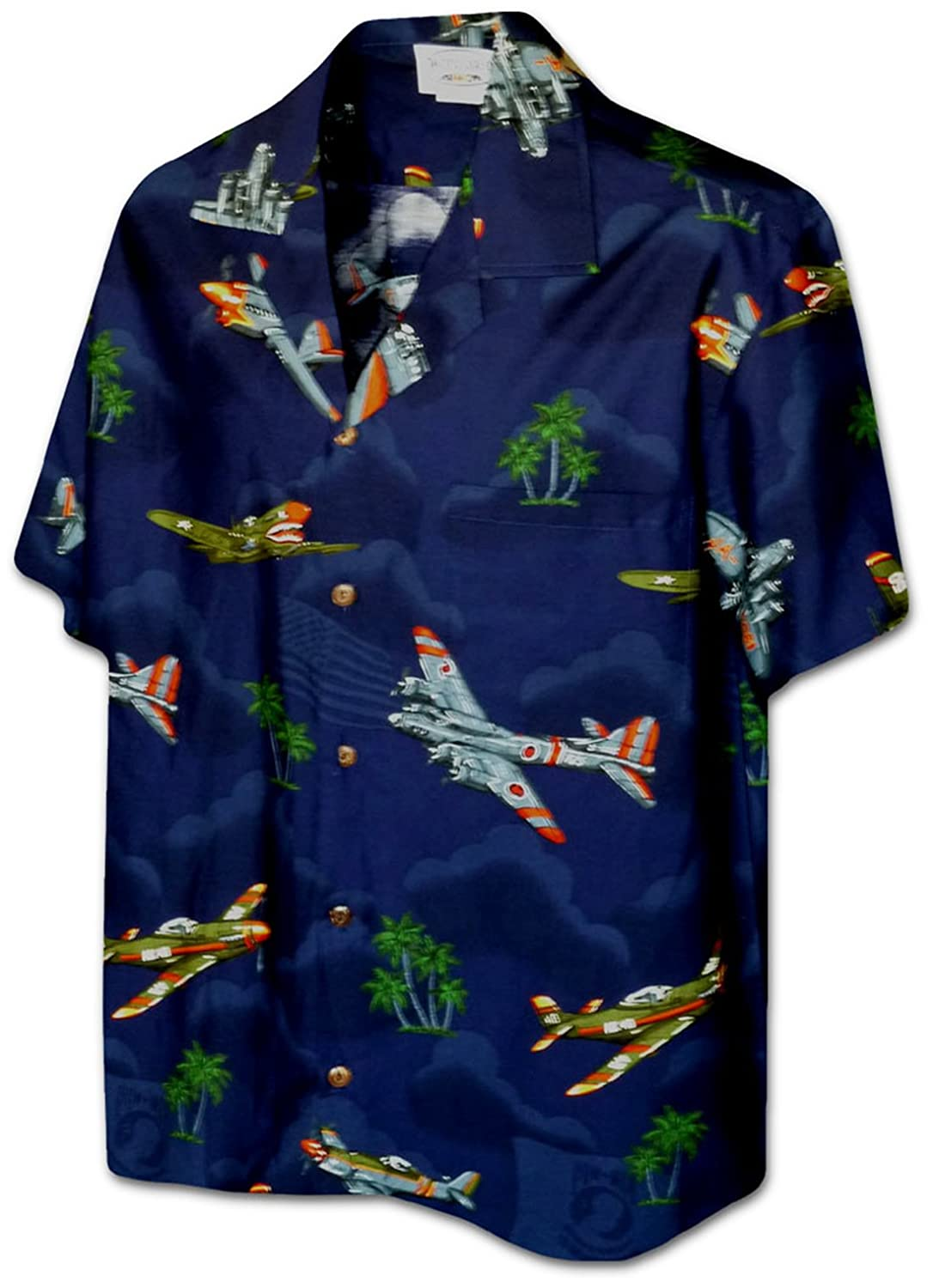 c82331e5 Pacific Legend Mens US Fighter Bomber Planes WWII Shirt Navy Blue M at  Amazon Men's Clothing store: