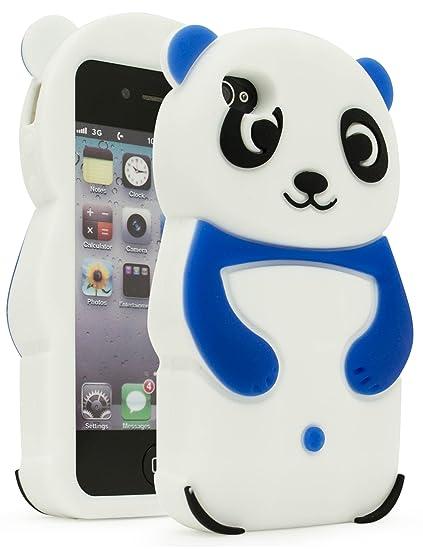 pretty nice 389d1 fd0fd iPhone 4 Phone Case, Bastex 3D Silicone Dark Blue & White Panda Bear Case  for Apple iPhone 4, 4s …