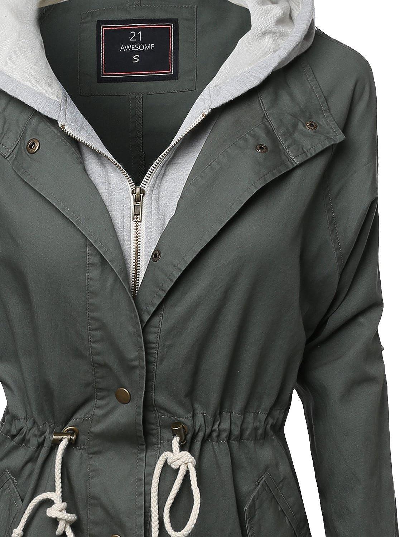 Awesome21 Womens Causal Boyfriend Over-Sized Utility Anorak Jacket
