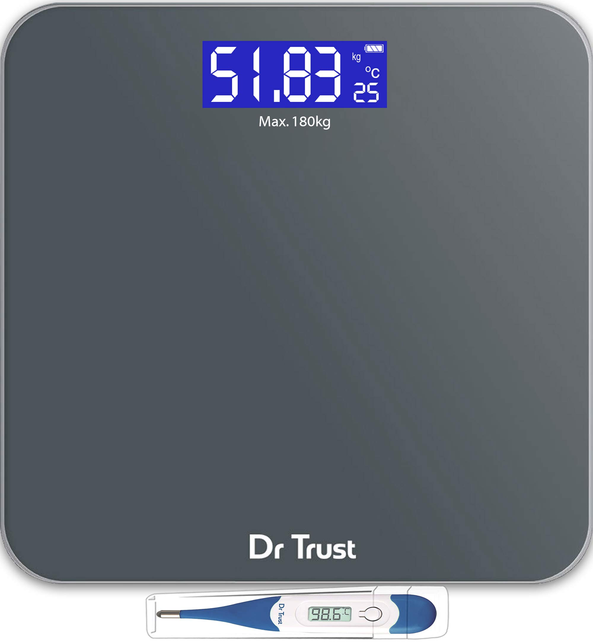 Dr Trust (USA) Electronic Platinum Rechargeable Digital Personal Weighing Scale for Human Body with Temperature Display product image