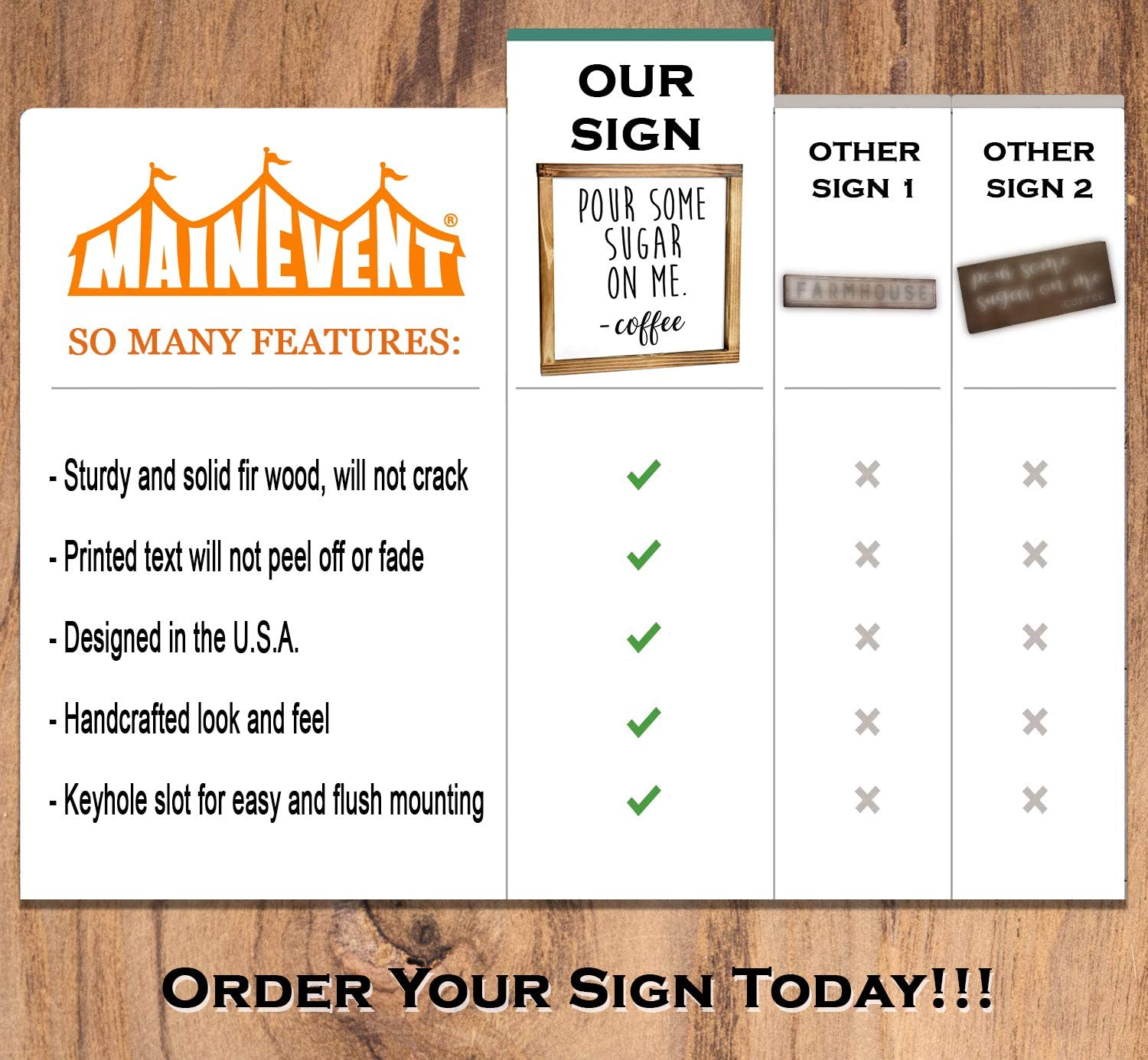 Funny Kitchen Sign Kitchen Wall Decor MAINEVENT But First Coffee Sign Country Kitchen Decor with Solid Wood Frame 8x17 Inch Farmhouse Kitchen Decor Rustic Home Decor