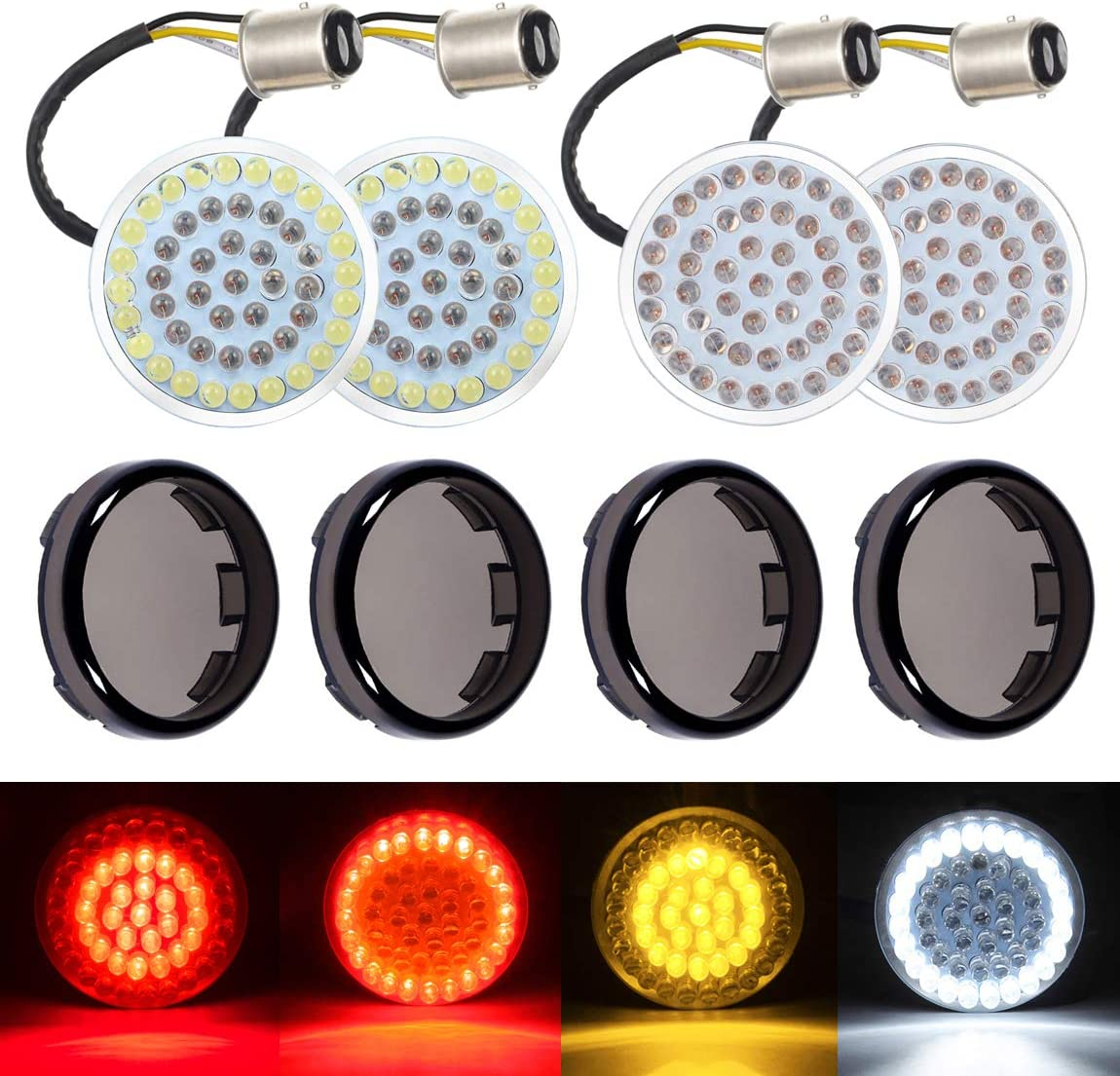 PBYMT LED Turn Signal Light Bulb 1157 Front Rear Running Tail Brake Light 2 Inches Bullet Smoke Lens Cover Kit Compatible for Harley Dyna Touring Street Glide Road King Electra Glide 1986-2020