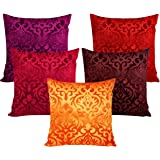 Czar Home Velvet Cushion Cover (Multicolour, 30x30 cm) - Set of 5