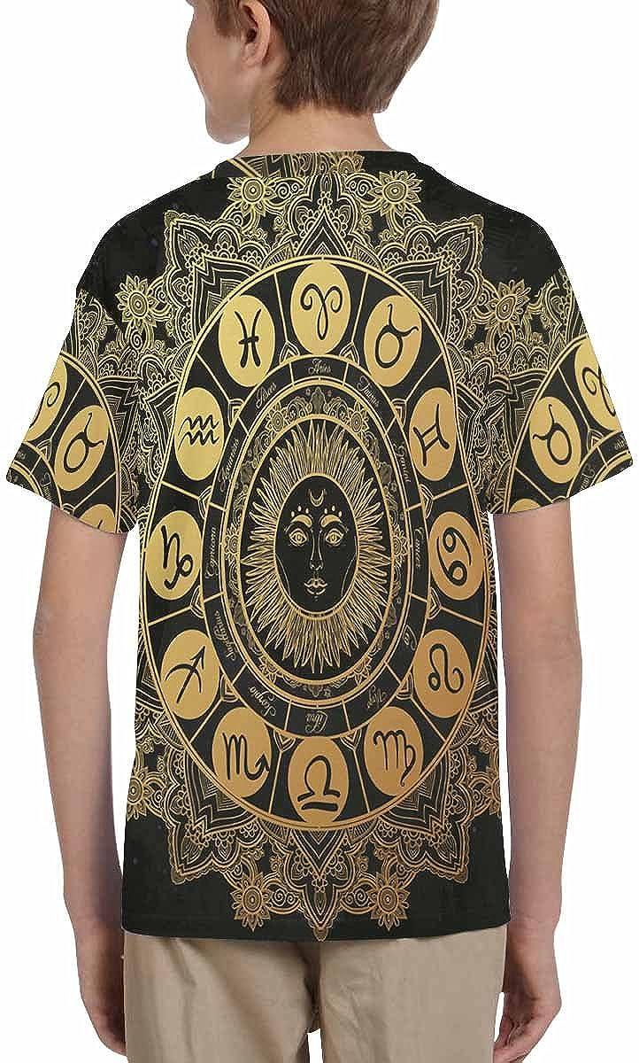 XS-XL INTERESTPRINT Kids T-Shirt Zodiac Set with Sun in The Middle