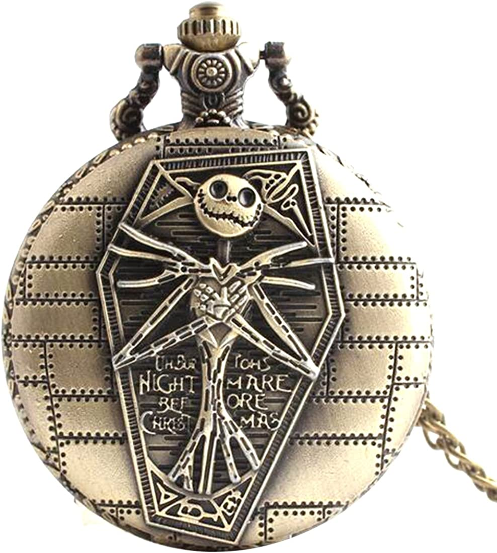 Reloj de bolsillo de calavera, de estilo vintage, envejecido, para colgar, con forma redonda