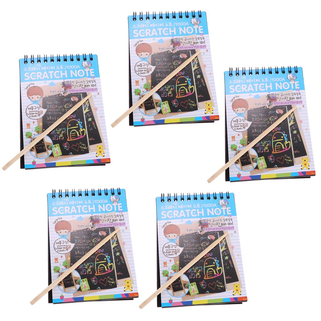 Homyl 5 Pieces Colouring Drawing Books Kid Rainbow Scratch Colourful Art Notepad Sketchbook Perfect Travel Companion for Children - Blue