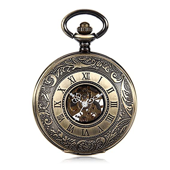 Bronze Tone Pattern Case Black Dial Double Roman Numberl Hand Wind Mechanical Mens Pocket Watch w